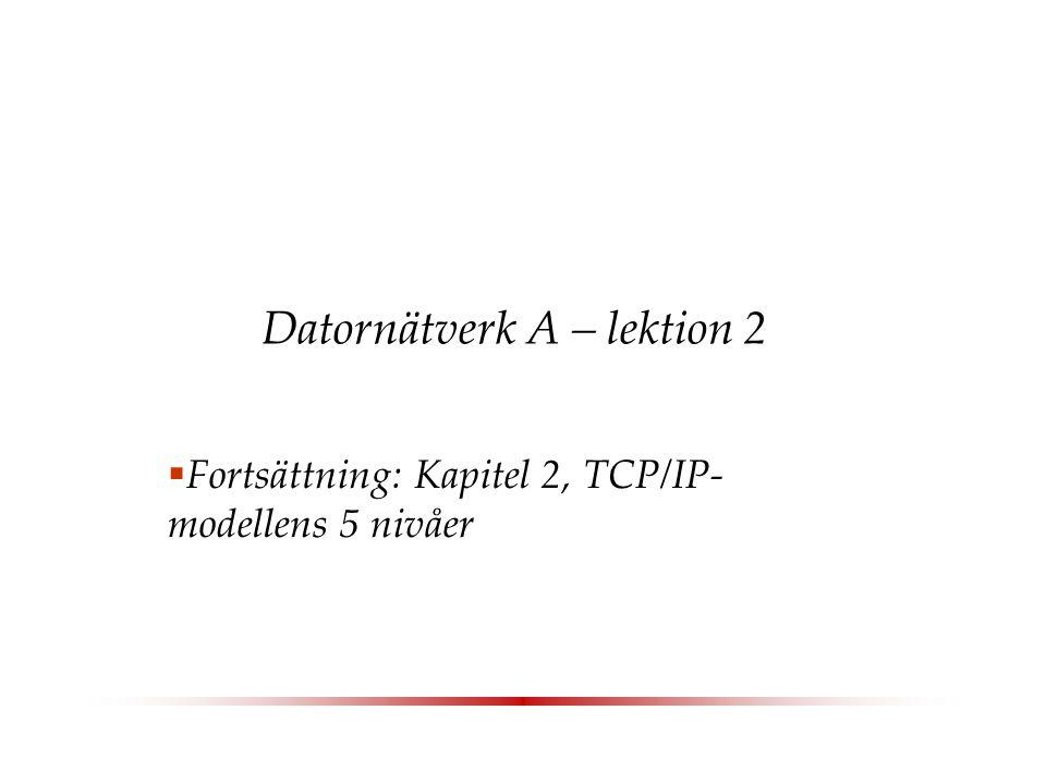 Datornätverk A – lektion 2  Fortsättning: Kapitel 2, TCP/IP- modellens 5 nivåer
