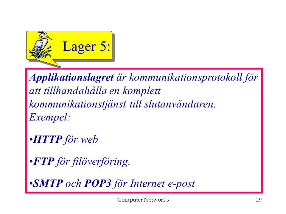 Computer Networks29 Applikationslagret är kommunikationsprotokoll för att tillhandahålla en komplett kommunikationstjänst till slutanvändaren.