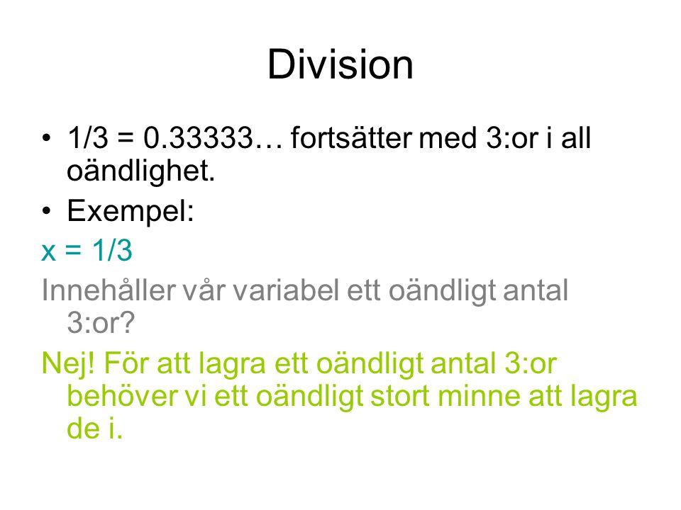 Division 1/3 = 0.33333… fortsätter med 3:or i all oändlighet.