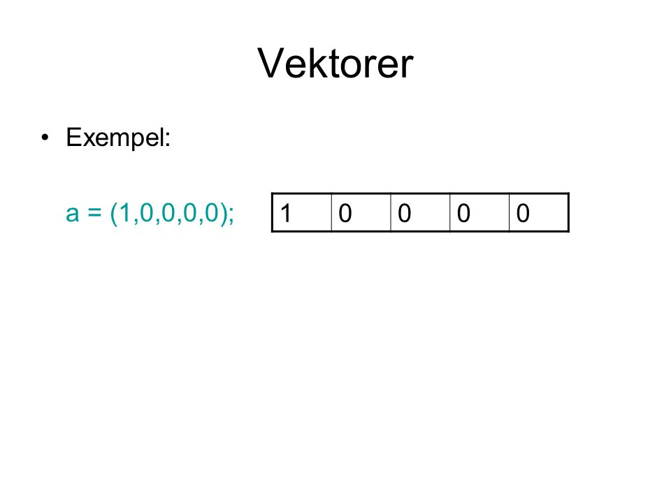 Vektorer Exempel: a = (1,0,0,0,0); 10000