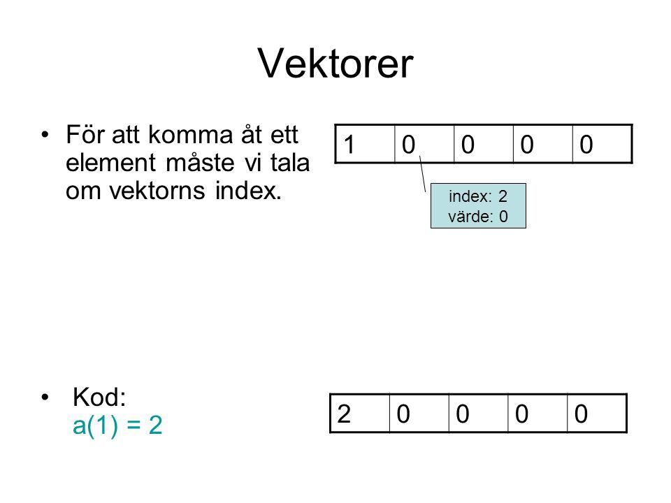 Vektorer För att komma åt ett element måste vi tala om vektorns index.