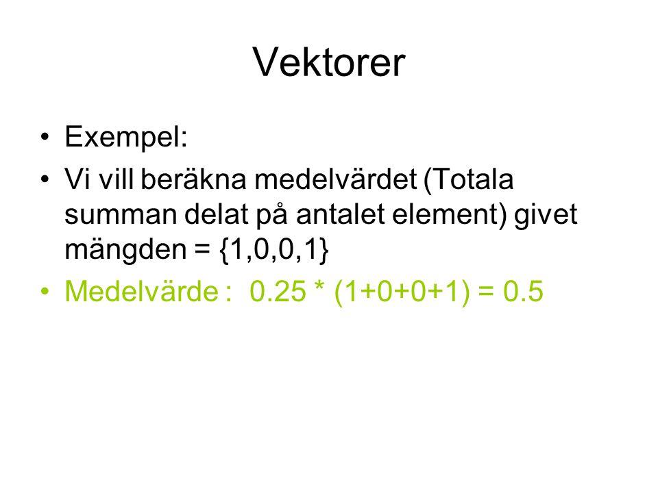 Vektorer Exempel: Vi vill beräkna medelvärdet (Totala summan delat på antalet element) givet mängden = {1,0,0,1} Medelvärde : 0.25 * (1+0+0+1) = 0.5
