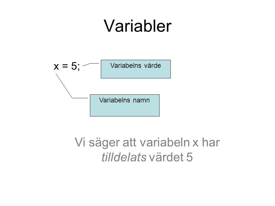 Variabler x = 5; Variabelns namn Variabelns värde Vi säger att variabeln x har tilldelats värdet 5