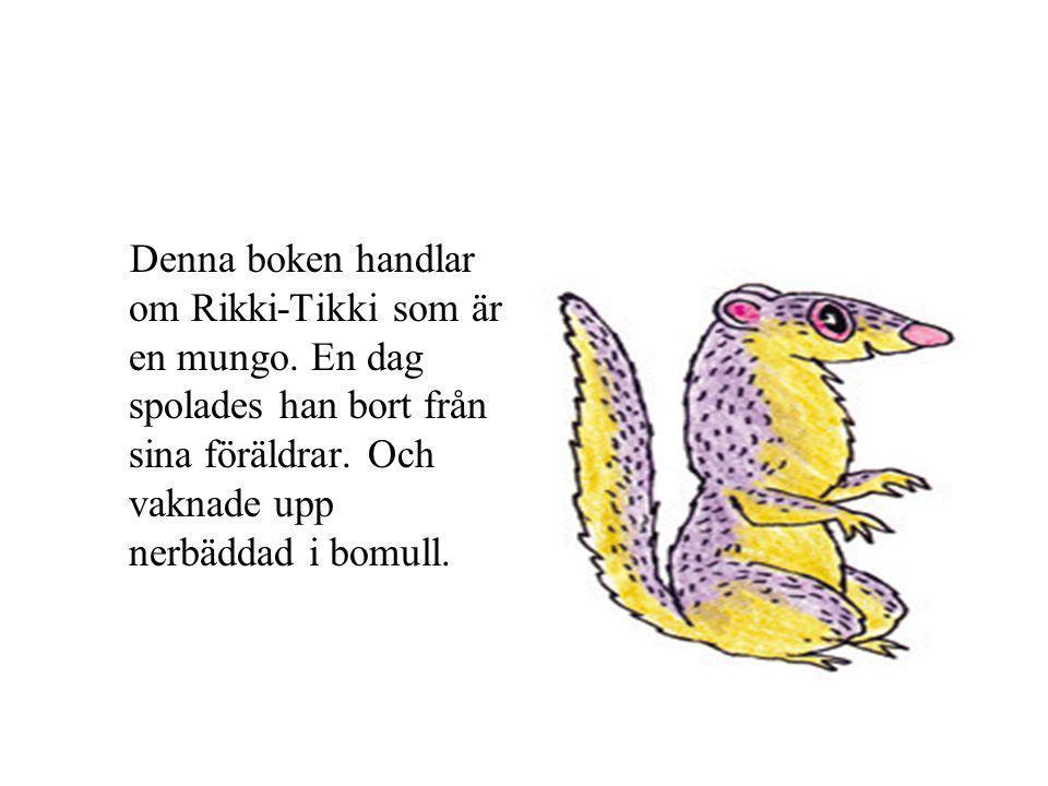 Denna boken handlar om Rikki-Tikki som är en mungo.