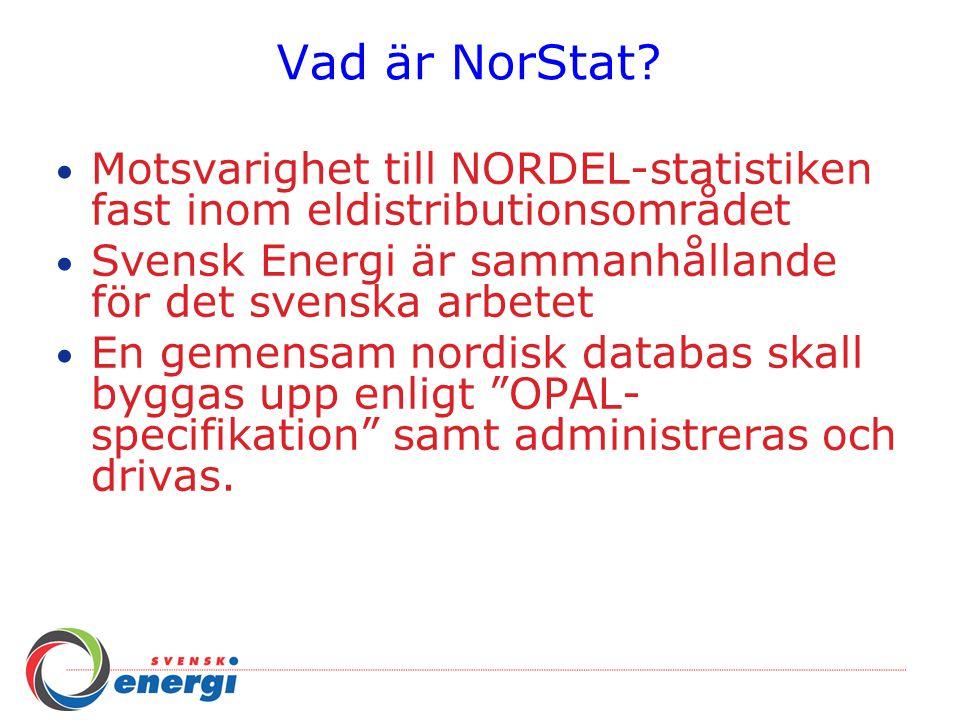 Vad är NorStat? Motsvarighet till NORDEL-statistiken fast inom eldistributionsområdet Svensk Energi är sammanhållande för det svenska arbetet En gemen