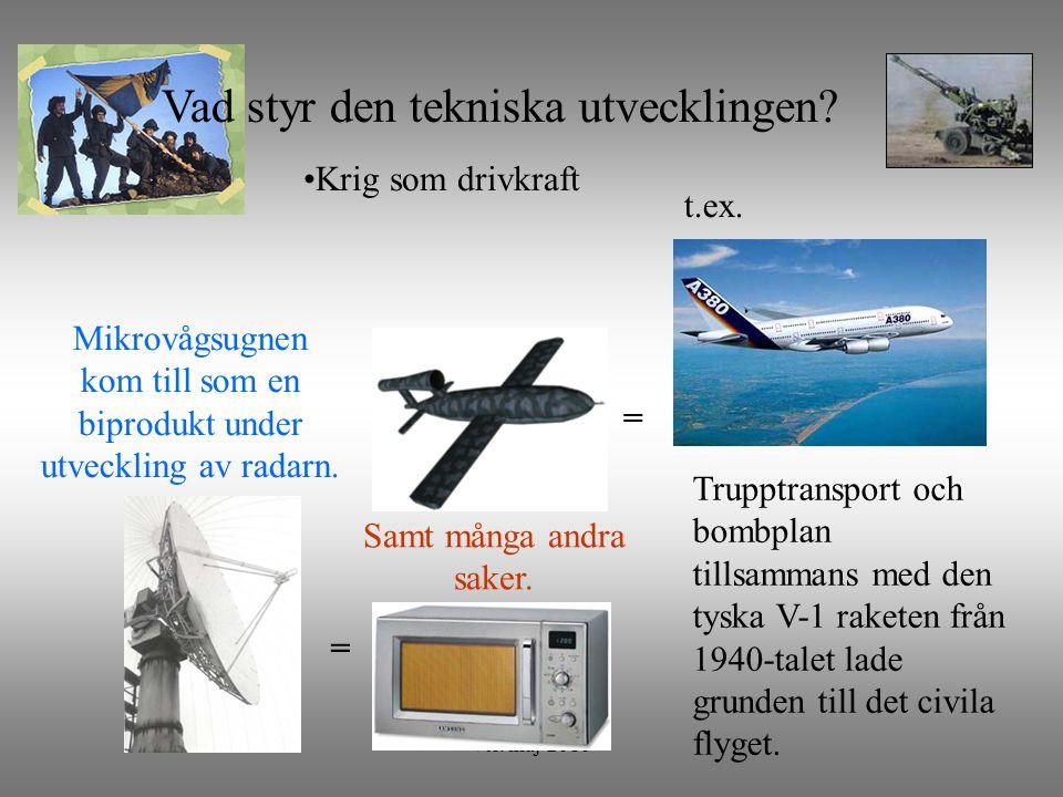 ver. maj-2010 Krig som drivkraft = Mikrovågsugnen kom till som en biprodukt under utveckling av radarn. Vad styr den tekniska utvecklingen? Samt många