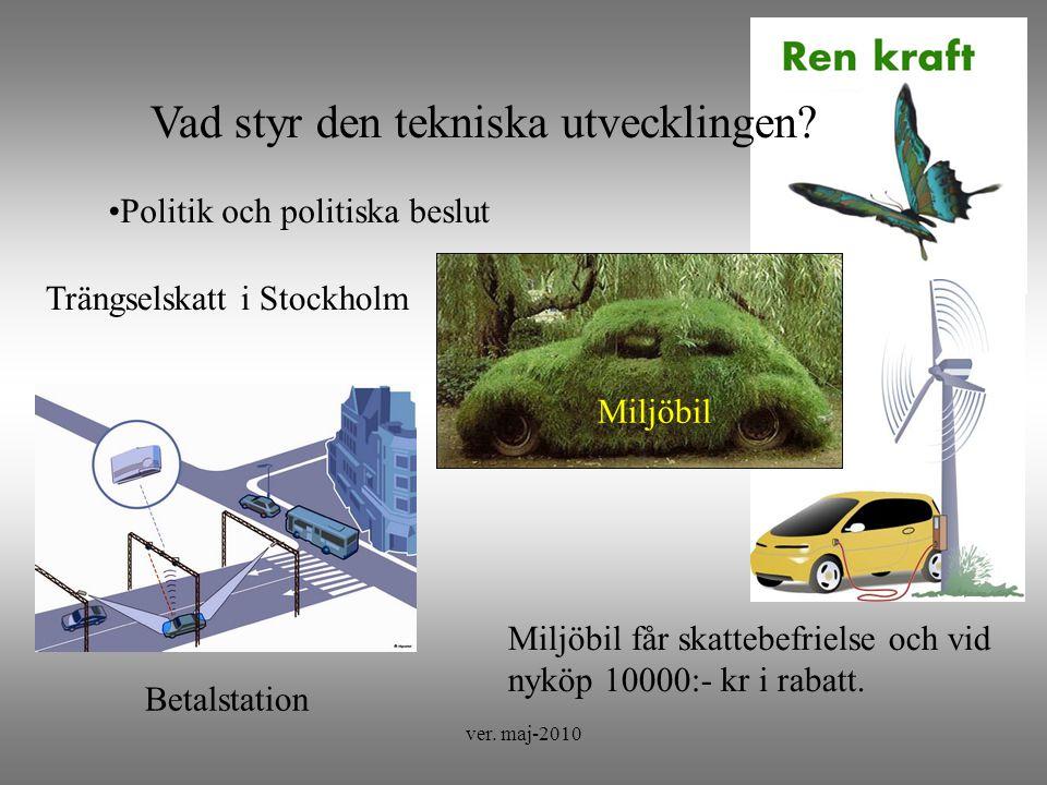 ver.maj-2010 Vad styr den tekniska utvecklingen. Förutsättningar Förutsättning: Mycket snö.