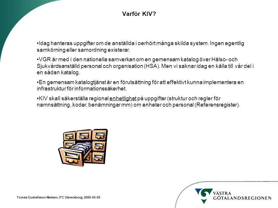 Tomas Gustafsson-Nielsen, ITC Vänersborg, 2005-04-05 Koppling personal - Organisation O = VGR Ou = PersonalOu = Org CN = EVAAN Exempel på Attribut: Personid Förnamn Efternamn CN = anställning 1 Exempel på Attribut: Ansvarsnummer = 3001 Start- och Slutdatum Titel Ou = PV/TV Ou = PV Fyrbodal Ou = VC Dagson Exempel på attribut: Postnummer = 451 40 Ansvarsnummer = 3001