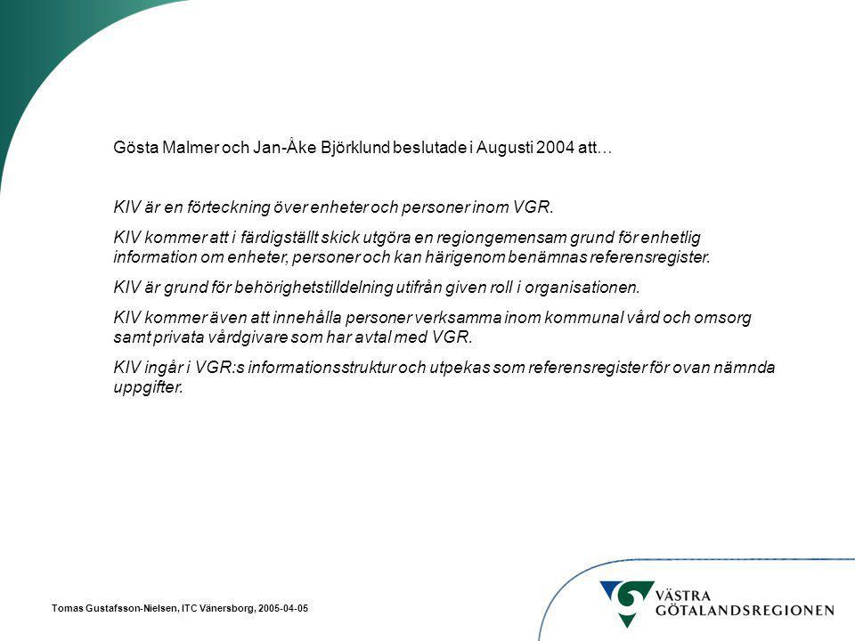 Tomas Gustafsson-Nielsen, ITC Vänersborg, 2005-04-05 Rättighetstilldelning i katalogen CN = ADM_082 Administrationsgrupp för Ao3 = 082 Ou = SÄS Ao3 = 082 CN = GUNER Membership = ADM_082 CN = MARSV Ao3 = 082 GUNER är administratör av användare på SÄS (arbetsområde – Ao3 082) och därför medlem i gruppen ADM_082.