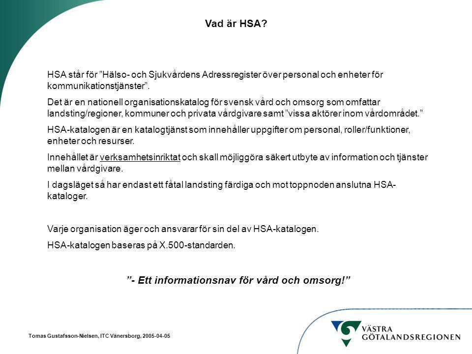 Tomas Gustafsson-Nielsen, ITC Vänersborg, 2005-04-05 Vad är HSA.
