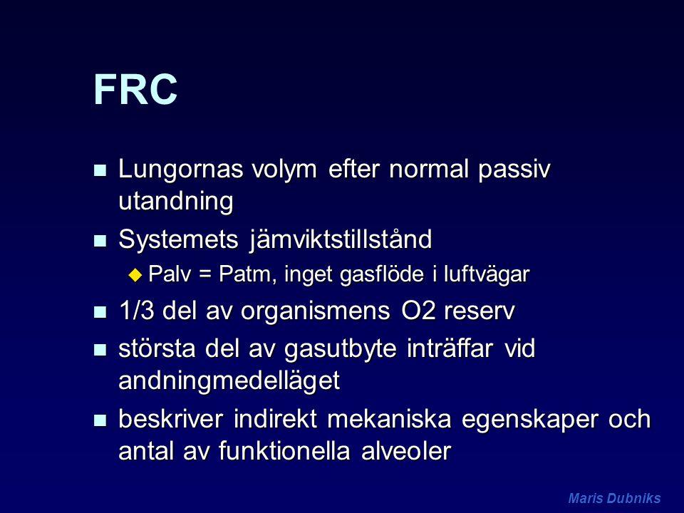Maris Dubniks FRC n Lungornas volym efter normal passiv utandning n Systemets jämviktstillstånd u Palv = Patm, inget gasflöde i luftvägar n 1/3 del av