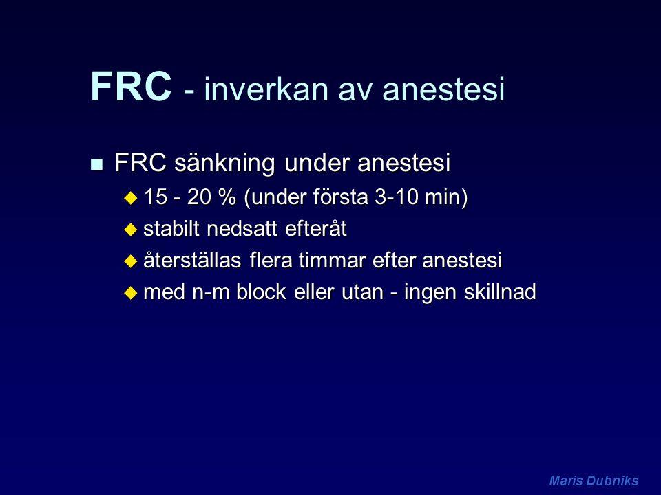 Maris Dubniks FRC - inverkan av anestesi n FRC sänkning under anestesi u 15 - 20 % (under första 3-10 min) u stabilt nedsatt efteråt u återställas fle