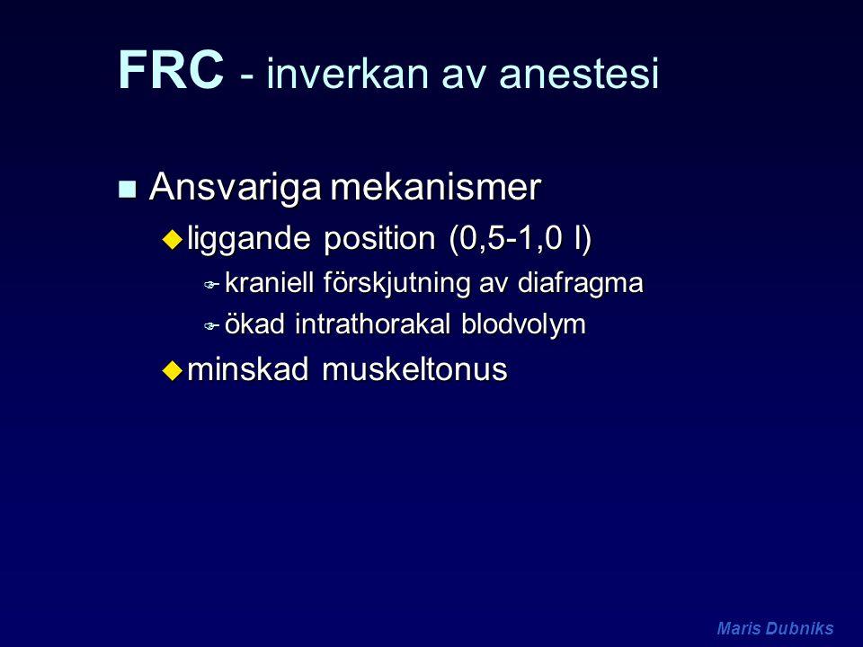 Maris Dubniks FRC - inverkan av anestesi n Ansvariga mekanismer u liggande position (0,5-1,0 l) F kraniell förskjutning av diafragma F ökad intrathora