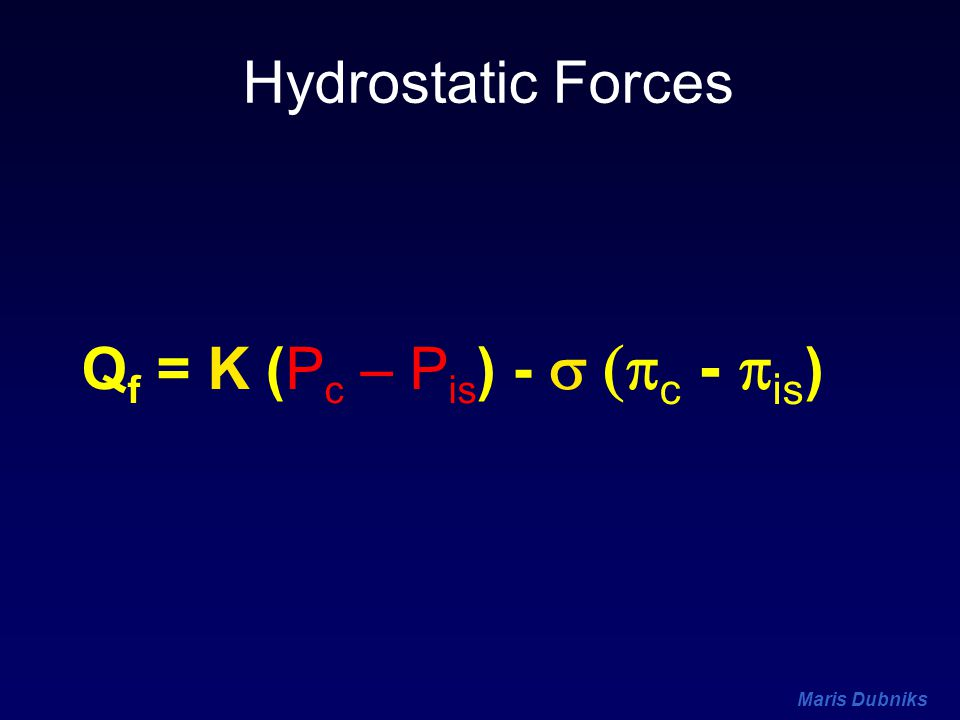 Maris Dubniks Q f = K (P c – P is ) -  c -  is ) Hydrostatic Forces