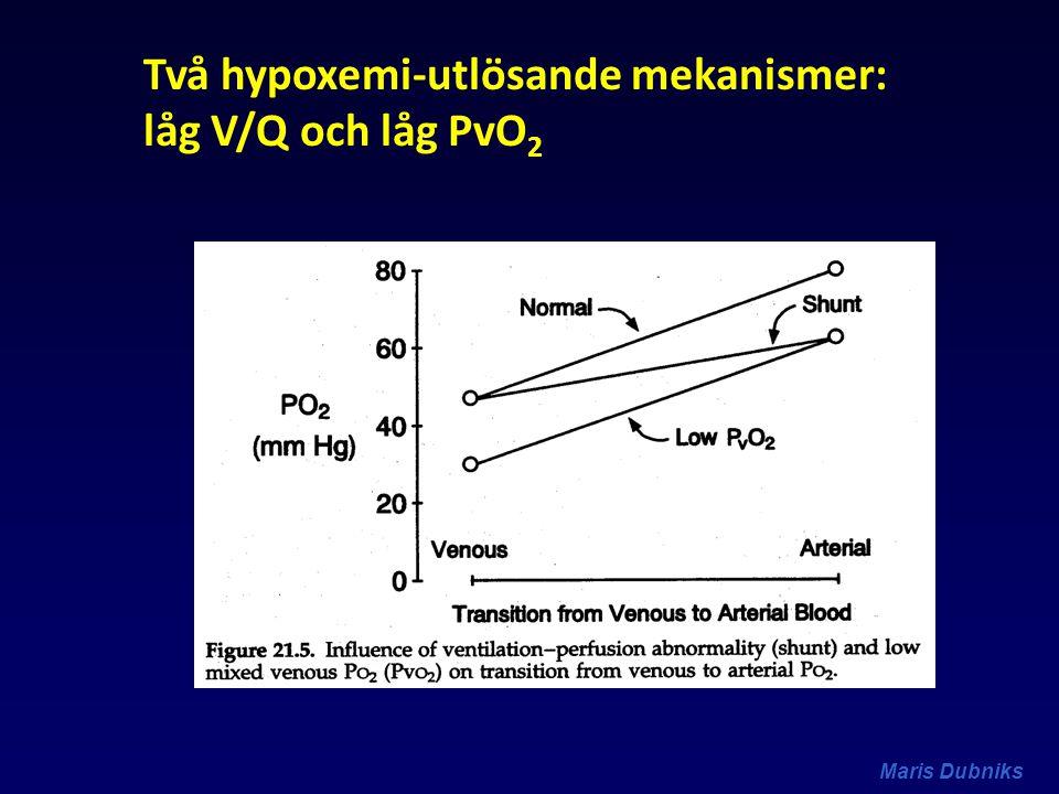 Två hypoxemi-utlösande mekanismer: låg V/Q och låg PvO 2