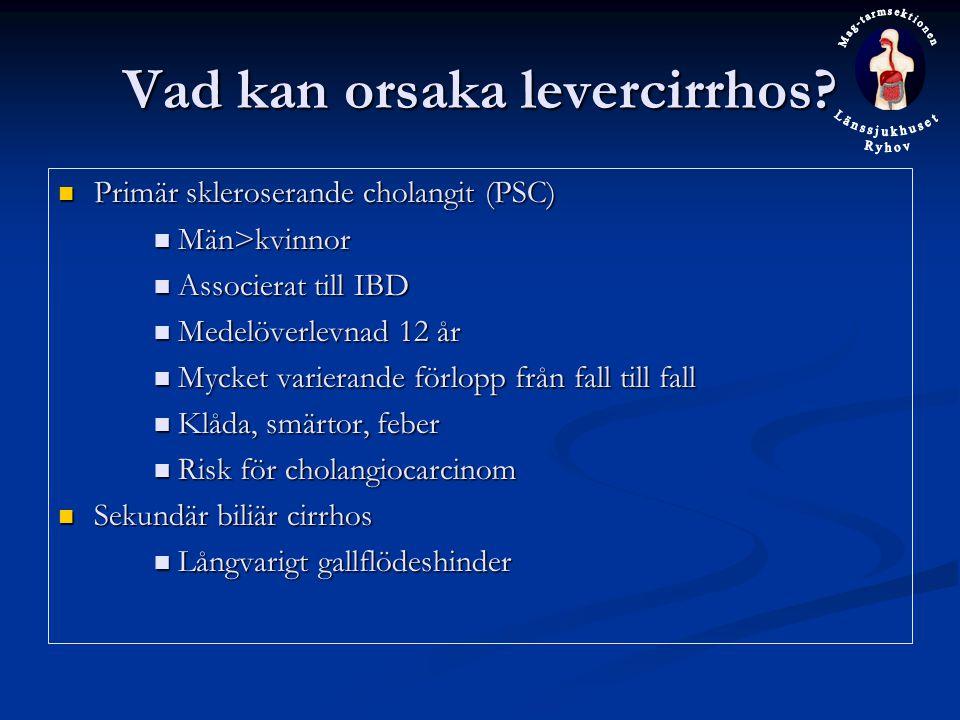 Vad kan orsaka levercirrhos? Primär skleroserande cholangit (PSC) Primär skleroserande cholangit (PSC) Män>kvinnor Män>kvinnor Associerat till IBD Ass