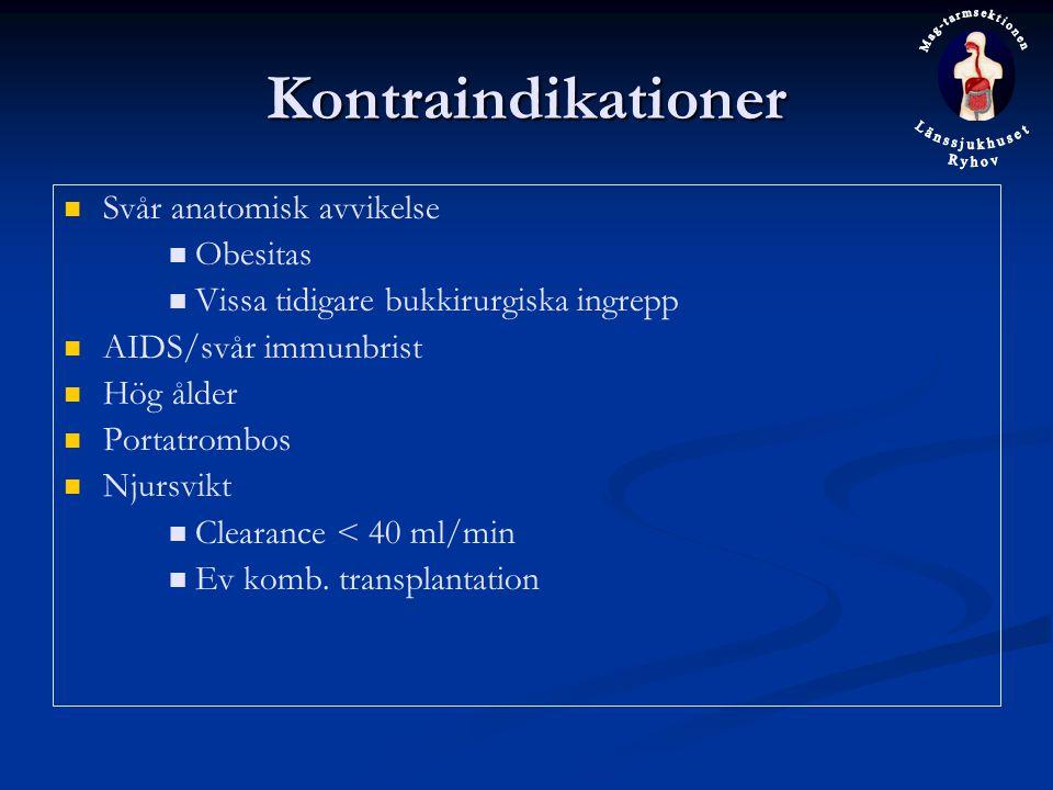 Kontraindikationer Svår anatomisk avvikelse Obesitas Vissa tidigare bukkirurgiska ingrepp AIDS/svår immunbrist Hög ålder Portatrombos Njursvikt Clearance < 40 ml/min Ev komb.