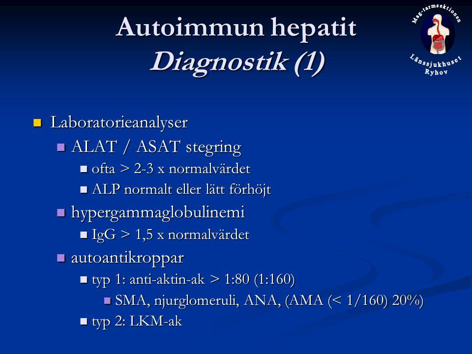 Autoimmun hepatit Diagnostik (1) Laboratorieanalyser Laboratorieanalyser ALAT / ASAT stegring ALAT / ASAT stegring ofta > 2-3 x normalvärdet ofta > 2-3 x normalvärdet ALP normalt eller lätt förhöjt ALP normalt eller lätt förhöjt hypergammaglobulinemi hypergammaglobulinemi IgG > 1,5 x normalvärdet IgG > 1,5 x normalvärdet autoantikroppar autoantikroppar typ 1: anti-aktin-ak > 1:80 (1:160) typ 1: anti-aktin-ak > 1:80 (1:160) SMA, njurglomeruli, ANA, (AMA (< 1/160) 20%) SMA, njurglomeruli, ANA, (AMA (< 1/160) 20%) typ 2: LKM-ak typ 2: LKM-ak