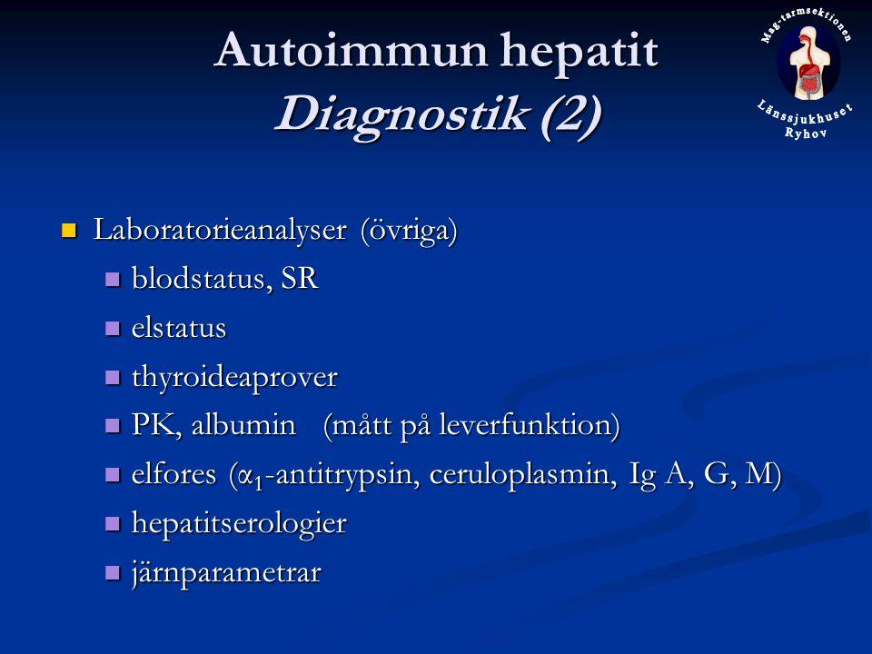 Autoimmun hepatit Diagnostik (2) Laboratorieanalyser (övriga) Laboratorieanalyser (övriga) blodstatus, SR blodstatus, SR elstatus elstatus thyroideaprover thyroideaprover PK, albumin(mått på leverfunktion) PK, albumin(mått på leverfunktion) elfores (α 1 -antitrypsin, ceruloplasmin, Ig A, G, M) elfores (α 1 -antitrypsin, ceruloplasmin, Ig A, G, M) hepatitserologier hepatitserologier järnparametrar järnparametrar
