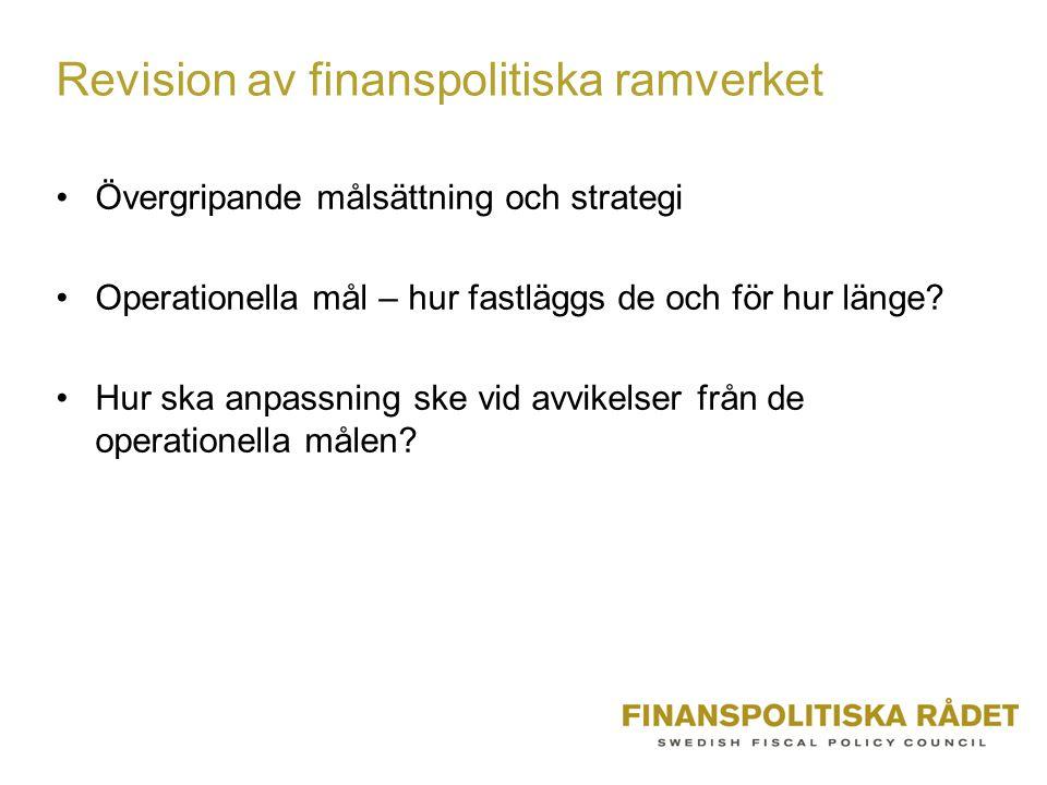 Revision av finanspolitiska ramverket Övergripande målsättning och strategi Operationella mål – hur fastläggs de och för hur länge.