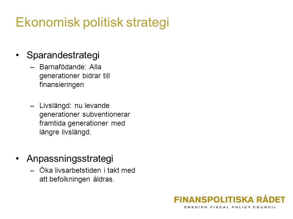 Ekonomisk politisk strategi Sparandestrategi –Barnafödande: Alla generationer bidrar till finansieringen –Livslängd: nu levande generationer subventionerar framtida generationer med längre livslängd.