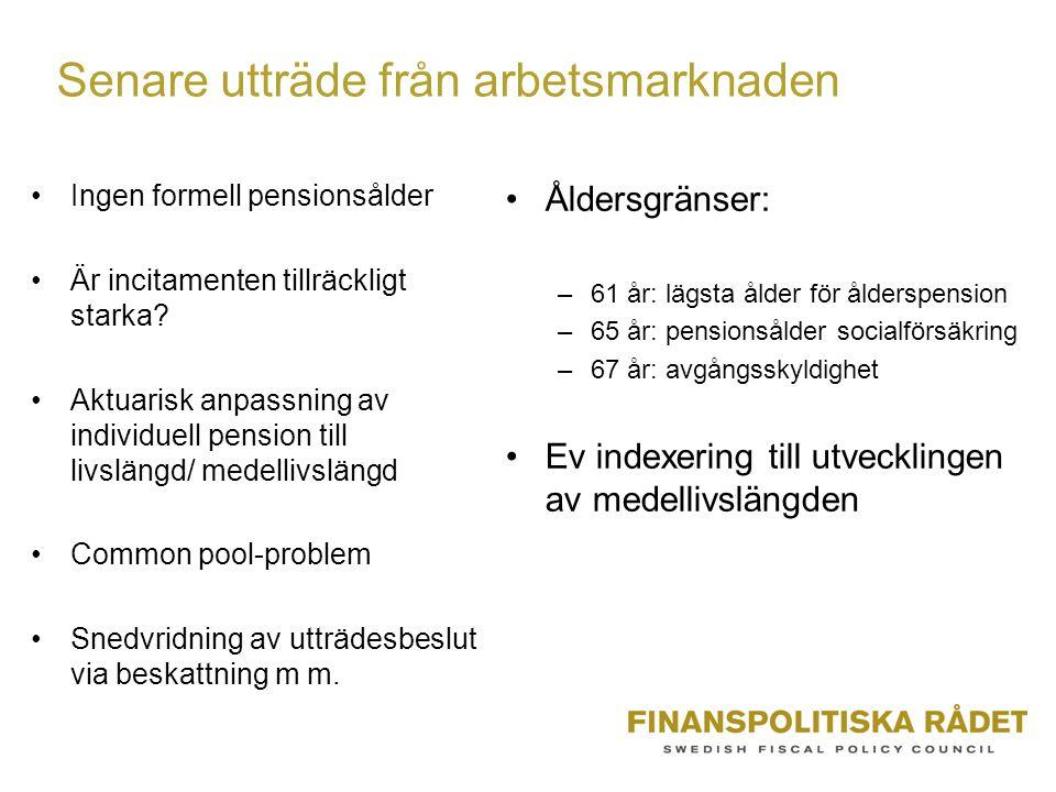 Senare utträde från arbetsmarknaden Ingen formell pensionsålder Är incitamenten tillräckligt starka.