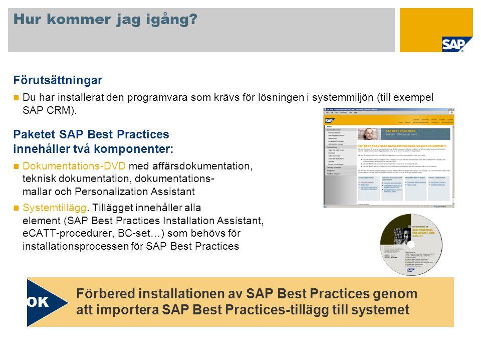 Hur kommer jag igång? Förutsättningar Du har installerat den programvara som krävs för lösningen i systemmiljön (till exempel SAP CRM). Paketet SAP Be