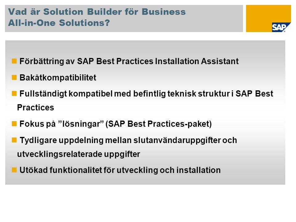 Vad är Solution Builder för Business All-in-One Solutions? Förbättring av SAP Best Practices Installation Assistant Bakåtkompatibilitet Fullständigt k