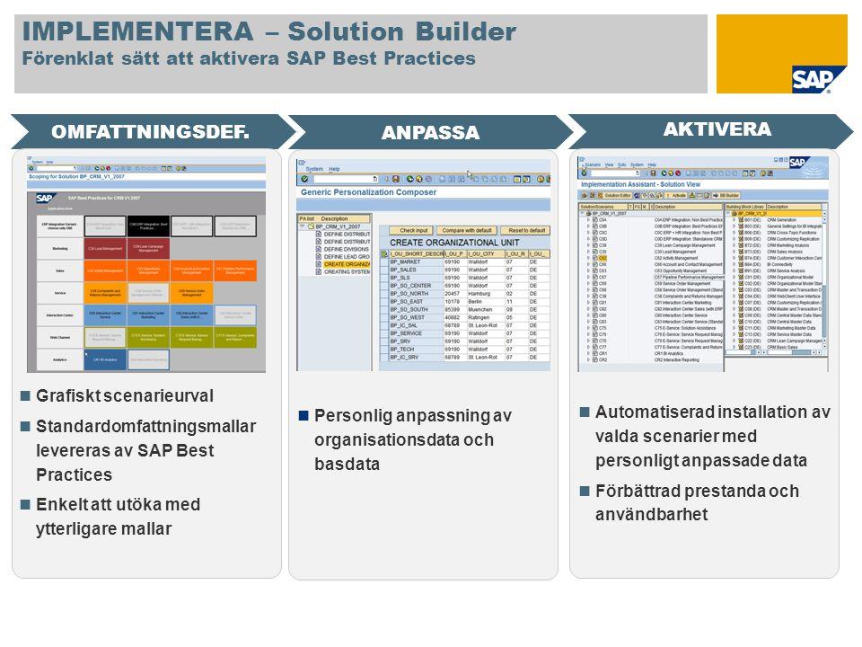 IMPLEMENTERA – Solution Builder Förenklat sätt att aktivera SAP Best Practices OMFATTNINGSDEF. AKTIVERA ANPASSA Grafiskt scenarieurval Standardomfattn