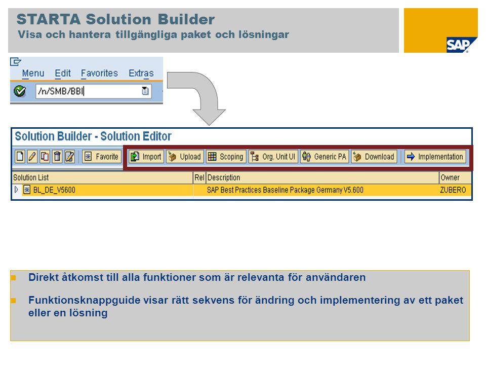 Direkt åtkomst till alla funktioner som är relevanta för användaren Funktionsknappguide visar rätt sekvens för ändring och implementering av ett paket