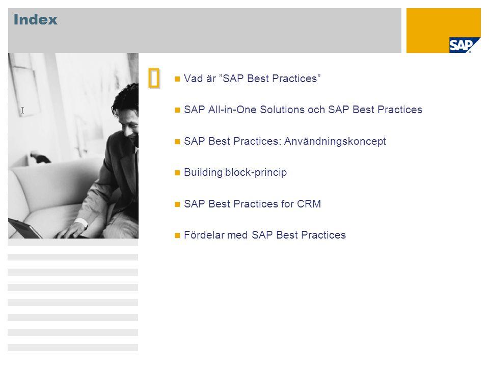 "Index   Vad är ""SAP Best Practices"" SAP All-in-One Solutions och SAP Best Practices SAP Best Practices: Användningskoncept Building block-princip SA"
