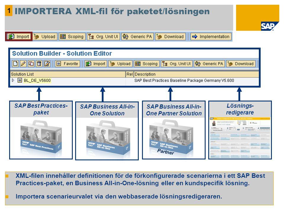 1 IMPORTERA XML-fil för paketet/lösningen XML-filen innehåller definitionen för de förkonfigurerade scenarierna i ett SAP Best Practices-paket, en Bus