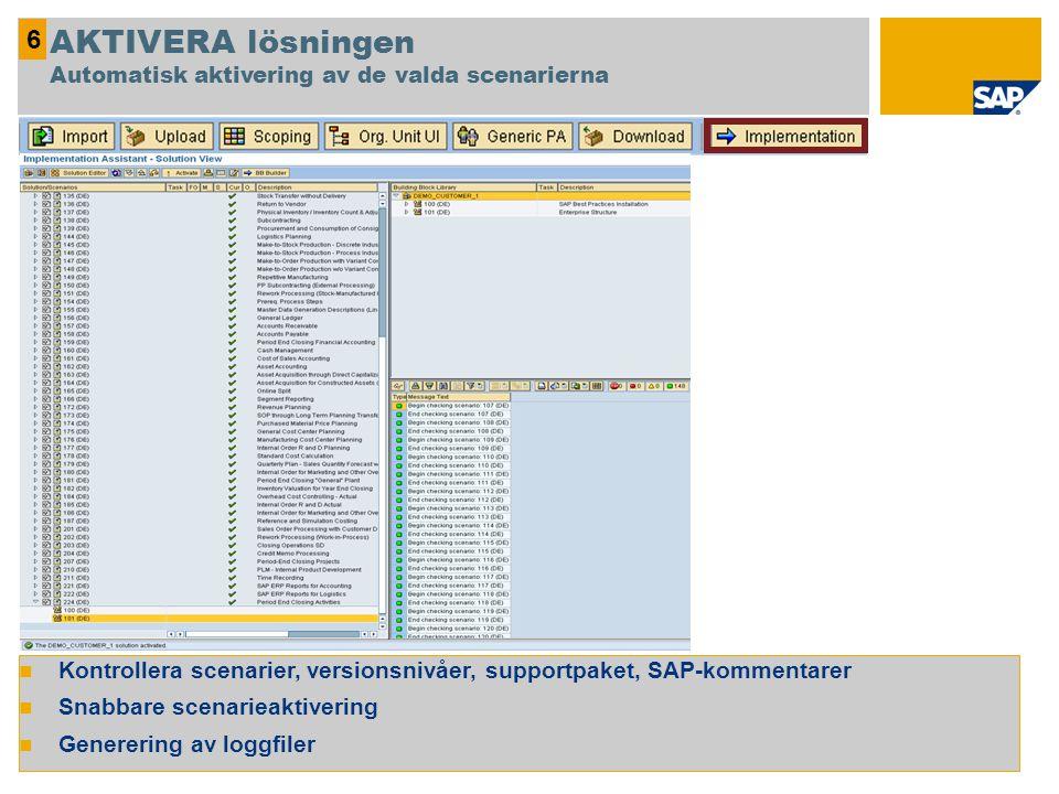 Kontrollera scenarier, versionsnivåer, supportpaket, SAP-kommentarer Snabbare scenarieaktivering Generering av loggfiler 6 AKTIVERA lösningen Automati