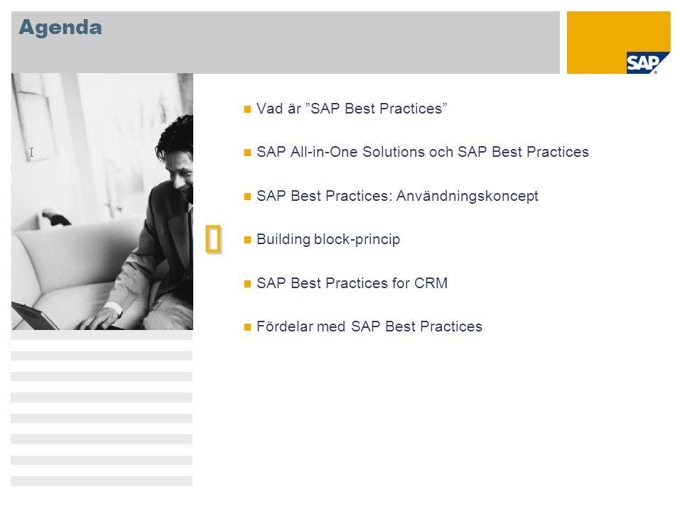 "Agenda   Vad är ""SAP Best Practices"" SAP All-in-One Solutions och SAP Best Practices SAP Best Practices: Användningskoncept Building block-princip S"
