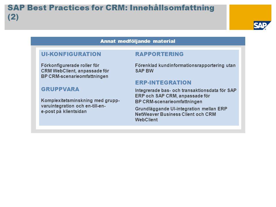 SAP Best Practices for CRM: Innehållsomfattning (2) Annat medföljande material UI-KONFIGURATION Förkonfigurerade roller för CRM WebClient, anpassade f