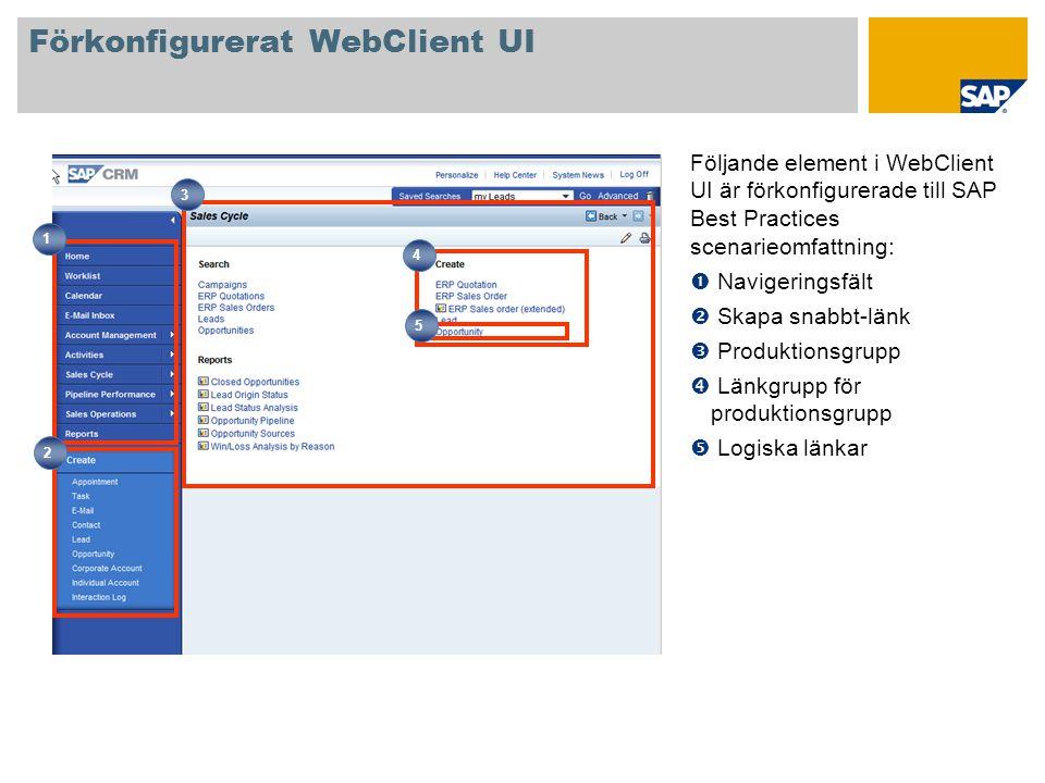 Förkonfigurerat WebClient UI Följande element i WebClient UI är förkonfigurerade till SAP Best Practices scenarieomfattning:  Navigeringsfält  Skapa