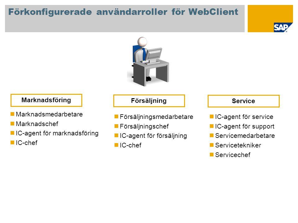 Förkonfigurerade användarroller för WebClient Marknadsmedarbetare Marknadschef IC-agent för marknadsföring IC-chef Försäljningsmedarbetare Försäljning