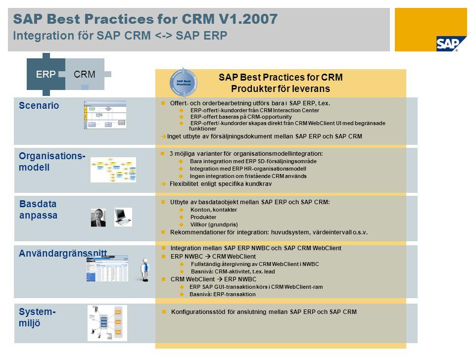SAP Best Practices for CRM V1.2007 Integration för SAP CRM SAP ERP SAP Best Practices for CRM Produkter för leverans System- miljö Användargränssnitt