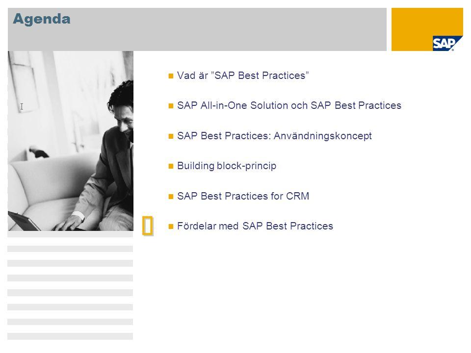 """Agenda   Vad är """"SAP Best Practices"""" SAP All-in-One Solution och SAP Best Practices SAP Best Practices: Användningskoncept Building block-princip SA"""