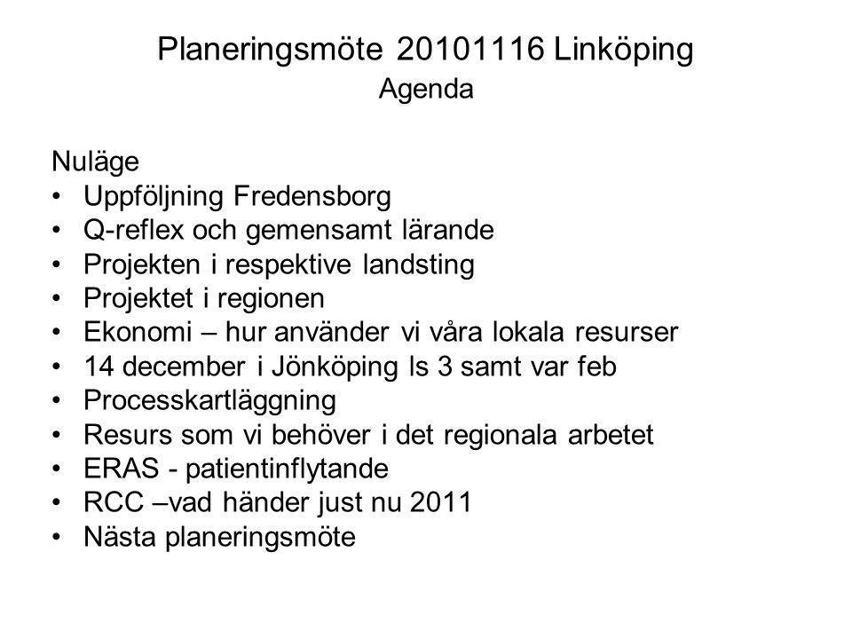 Planeringsmöte 20101116 Linköping Agenda Nuläge Uppföljning Fredensborg Q-reflex och gemensamt lärande Projekten i respektive landsting Projektet i re