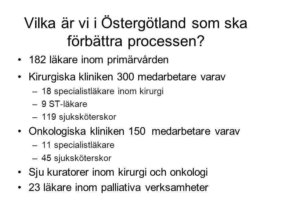 Vilka är vi i Östergötland som ska förbättra processen? 182 läkare inom primärvården Kirurgiska kliniken 300 medarbetare varav –18 specialistläkare in