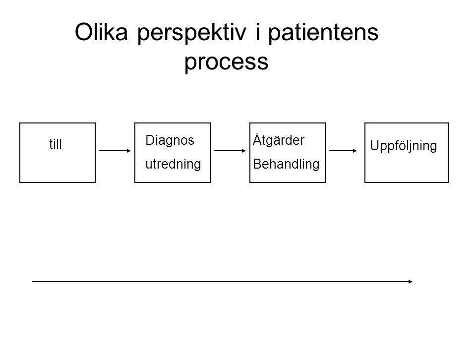 Diagnos utredning Åtgärder Behandling Uppföljning Olika perspektiv i patientens process till