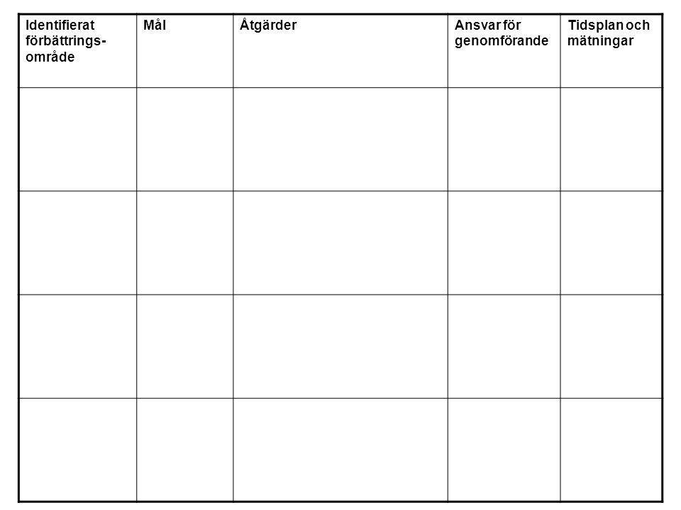 Identifierat förbättrings- område MålÅtgärderAnsvar för genomförande Tidsplan och mätningar