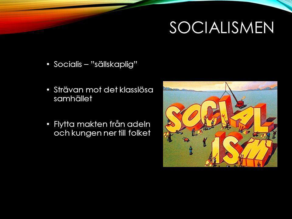 SOCIALISMEN Socialis – sällskaplig Strävan mot det klasslösa samhället Flytta makten från adeln och kungen ner till folket
