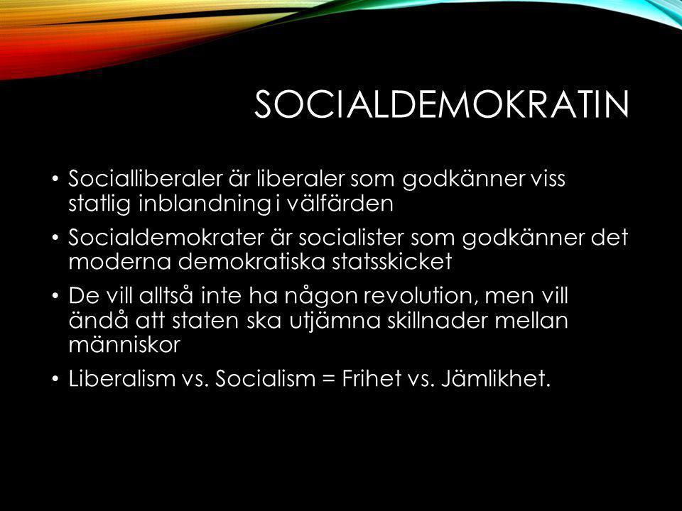 SOCIALDEMOKRATIN Socialliberaler är liberaler som godkänner viss statlig inblandning i välfärden Socialdemokrater är socialister som godkänner det moderna demokratiska statsskicket De vill alltså inte ha någon revolution, men vill ändå att staten ska utjämna skillnader mellan människor Liberalism vs.