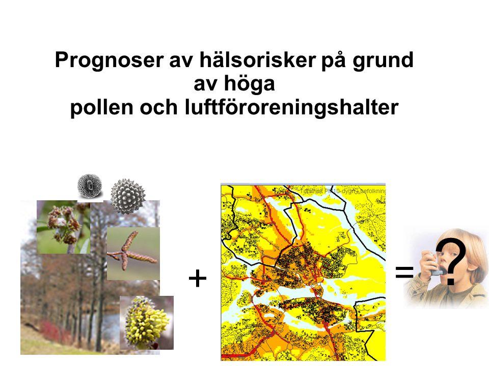 Prognoser av hälsorisker på grund av höga pollen och luftföroreningshalter + =