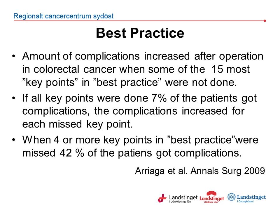 "Best Practice Amount of complications increased after operation in colorectal cancer when some of the 15 most ""key points"" in ""best practice"" were not"
