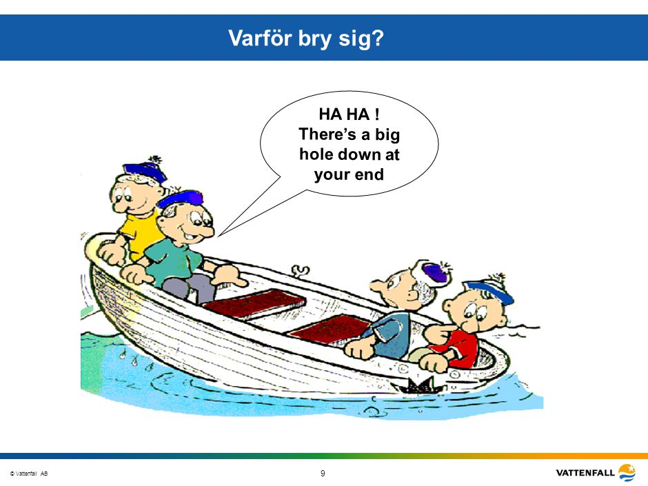 © Vattenfall AB 9 STO-STV080-20070108-A1-GlobalMappingOfGGAO_FINAL HA HA ! There's a big hole down at your end Varför bry sig?