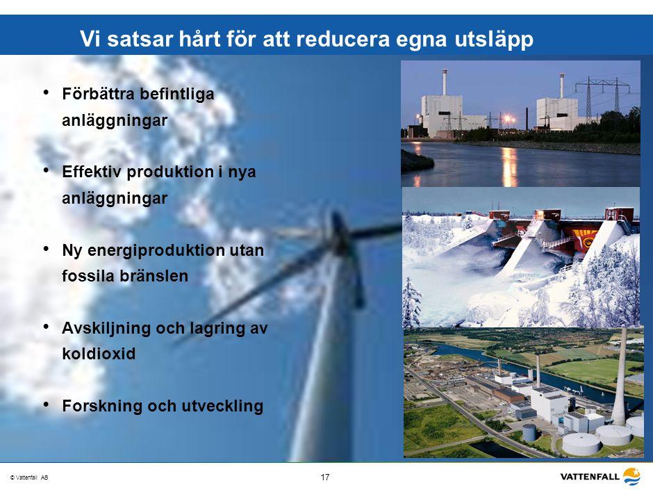 © Vattenfall AB 17 STO-STV080-20070108-A1-GlobalMappingOfGGAO_FINAL Vi satsar hårt för att reducera egna utsläpp Förbättra befintliga anläggningar Eff