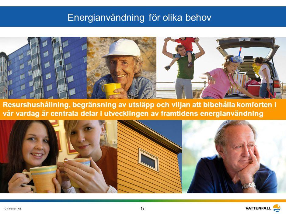 © Vattenfall AB 18 STO-STV080-20070108-A1-GlobalMappingOfGGAO_FINAL Energianvändning för olika behov Resurshushållning, begränsning av utsläpp och vil
